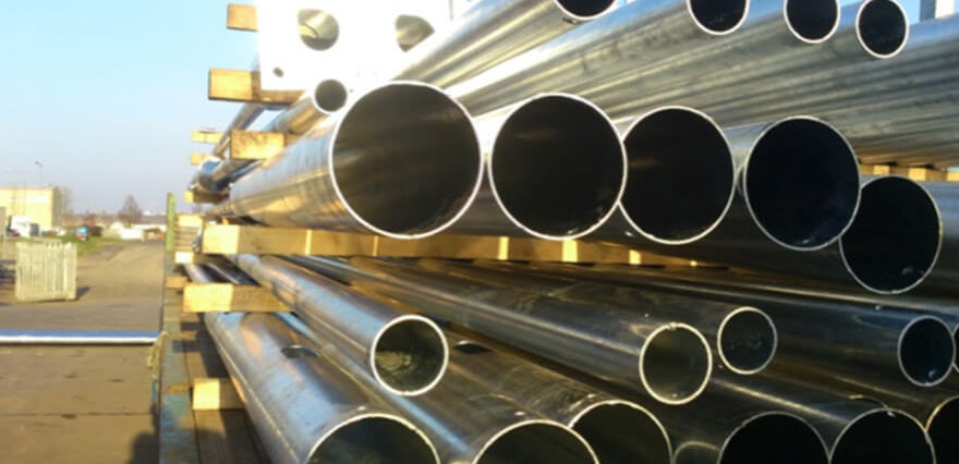 stacked galvanised steel pipes